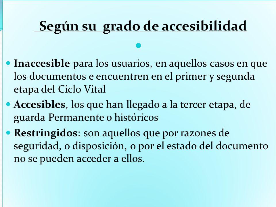 Según su grado de accesibilidad