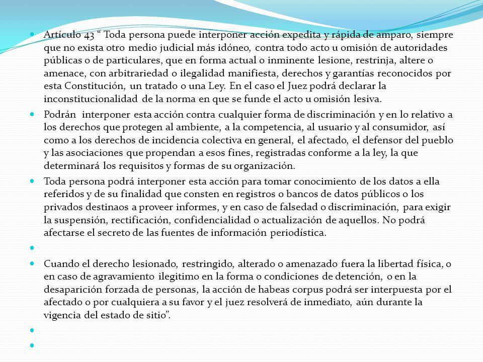 Artículo 43 Toda persona puede interponer acción expedita y rápida de amparo, siempre que no exista otro medio judicial más idóneo, contra todo acto u omisión de autoridades públicas o de particulares, que en forma actual o inminente lesione, restrinja, altere o amenace, con arbitrariedad o ilegalidad manifiesta, derechos y garantías reconocidos por esta Constitución, un tratado o una Ley. En el caso el Juez podrá declarar la inconstitucionalidad de la norma en que se funde el acto u omisión lesiva.