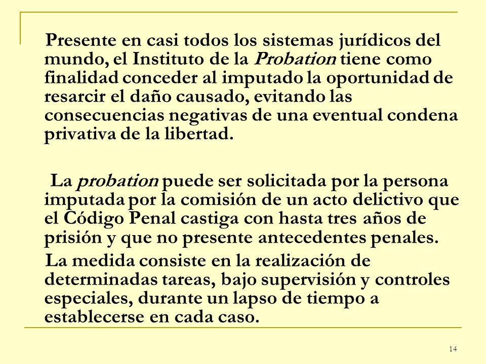 Presente en casi todos los sistemas jurídicos del mundo, el Instituto de la Probation tiene como finalidad conceder al imputado la oportunidad de resarcir el daño causado, evitando las consecuencias negativas de una eventual condena privativa de la libertad.