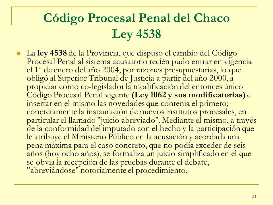 Código Procesal Penal del Chaco Ley 4538