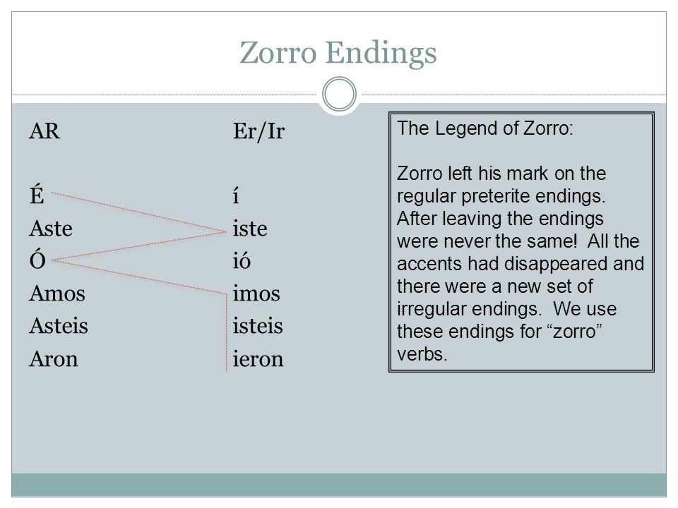 Zorro Endings AR Er/Ir É í Aste iste Ó ió Amos imos Asteis isteis Aron ieron The Legend of Zorro: