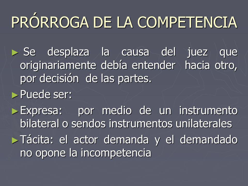 PRÓRROGA DE LA COMPETENCIA