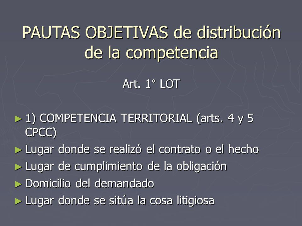 PAUTAS OBJETIVAS de distribución de la competencia