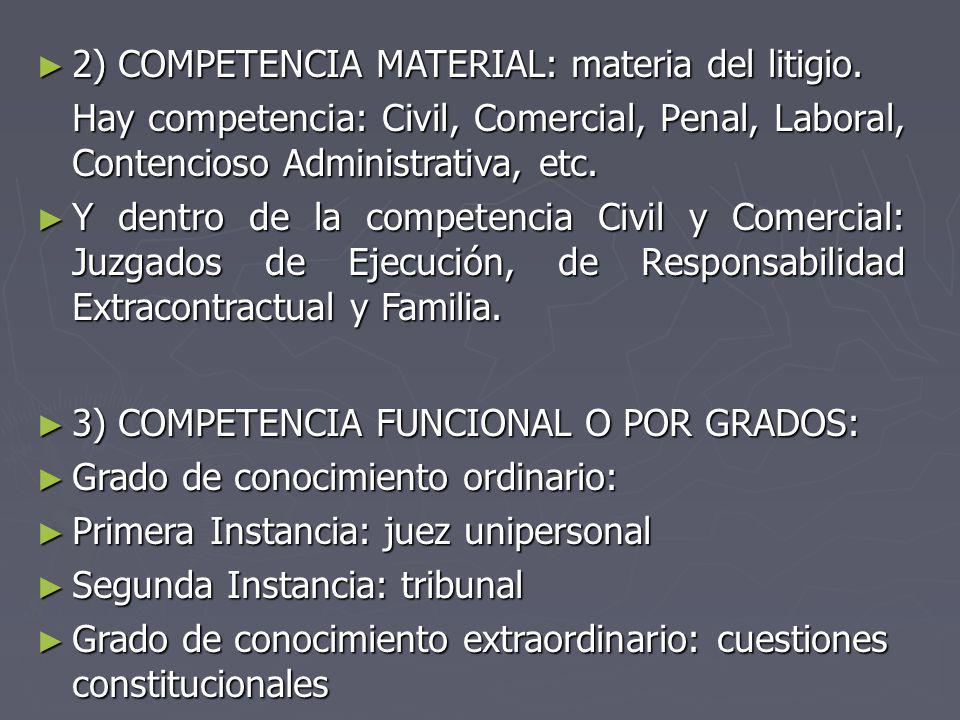 2) COMPETENCIA MATERIAL: materia del litigio.