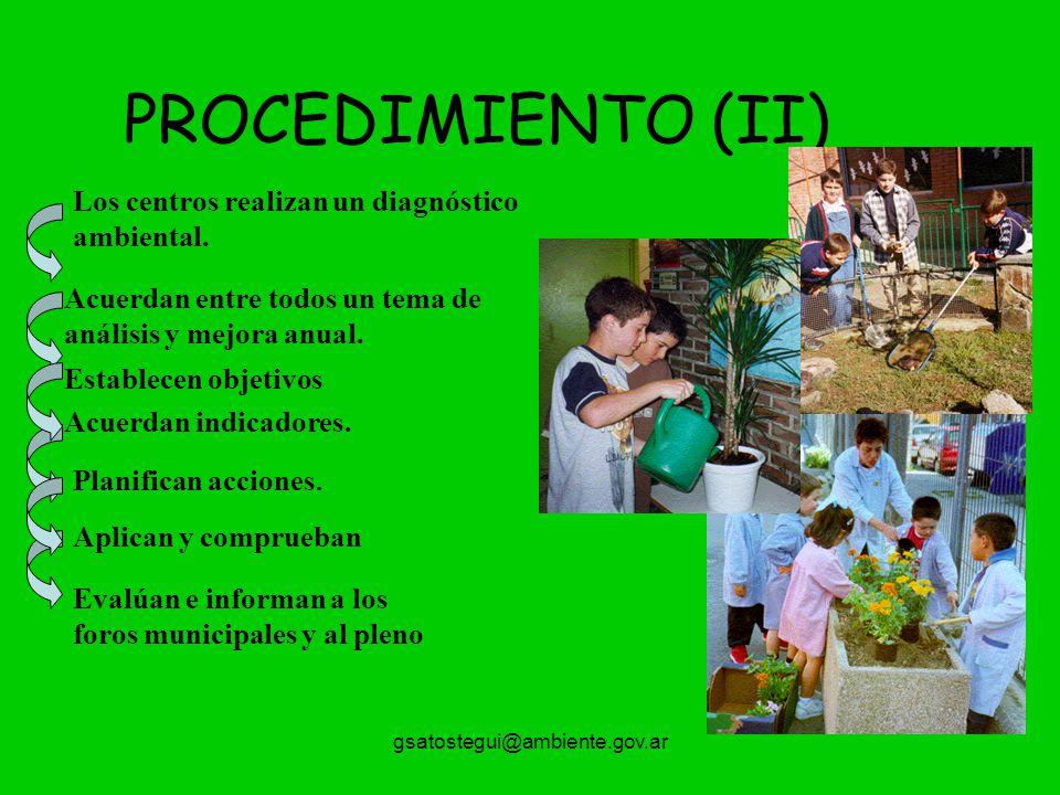 PROCEDIMIENTO (II) Los centros realizan un diagnóstico ambiental.