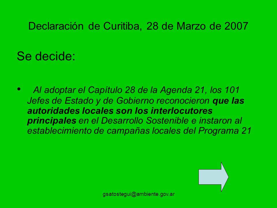 Declaración de Curitiba, 28 de Marzo de 2007
