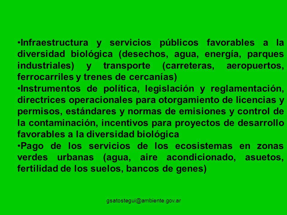 Infraestructura y servicios públicos favorables a la diversidad biológica (desechos, agua, energía, parques industriales) y transporte (carreteras, aeropuertos, ferrocarriles y trenes de cercanías)