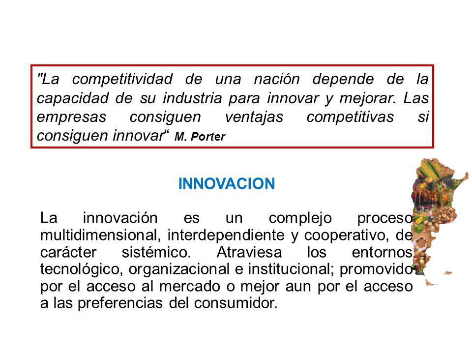 La competitividad de una nación depende de la capacidad de su industria para innovar y mejorar. Las empresas consiguen ventajas competitivas si consiguen innovar M. Porter