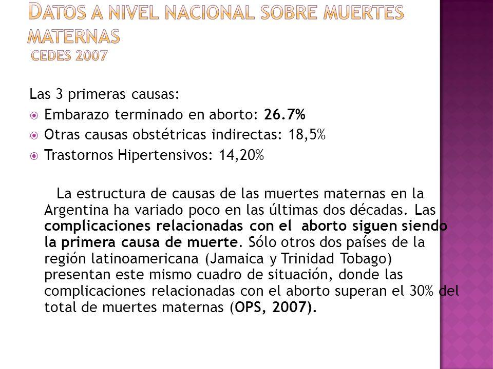 Las 3 primeras causas: Embarazo terminado en aborto: 26.7% Otras causas obstétricas indirectas: 18,5%