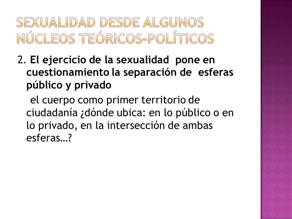 2. El ejercicio de la sexualidad pone en cuestionamiento la separación de esferas público y privado