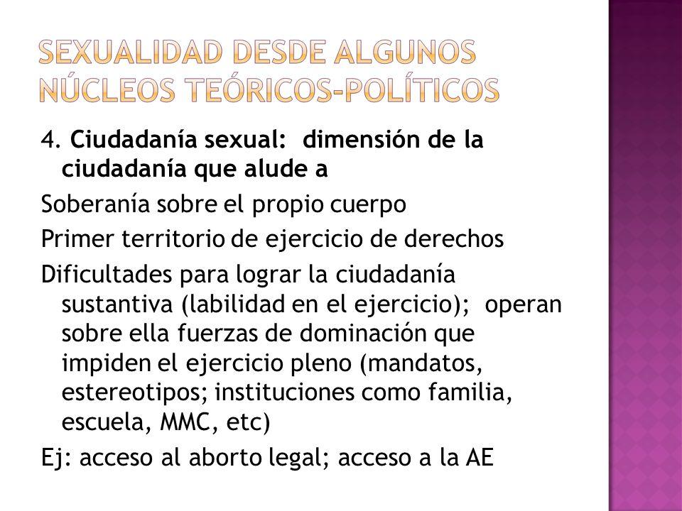 4. Ciudadanía sexual: dimensión de la ciudadanía que alude a