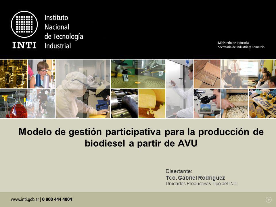 Disertante: Tco. Gabriel Rodriguez Unidades Productivas Tipo del INTI