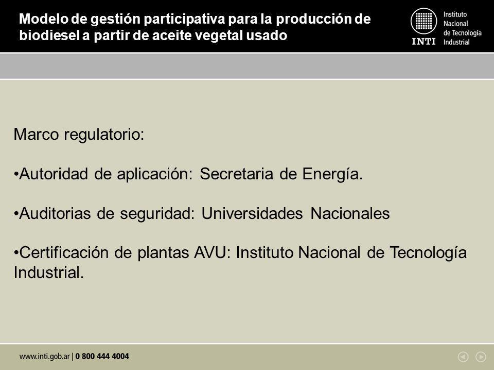 Autoridad de aplicación: Secretaria de Energía.