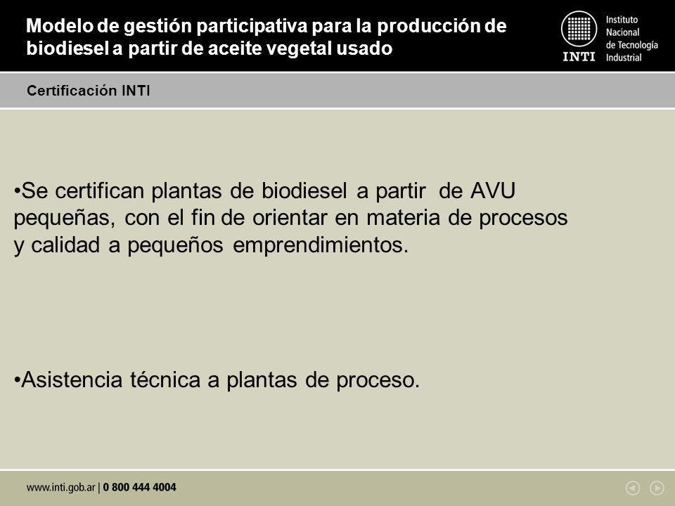 Asistencia técnica a plantas de proceso.