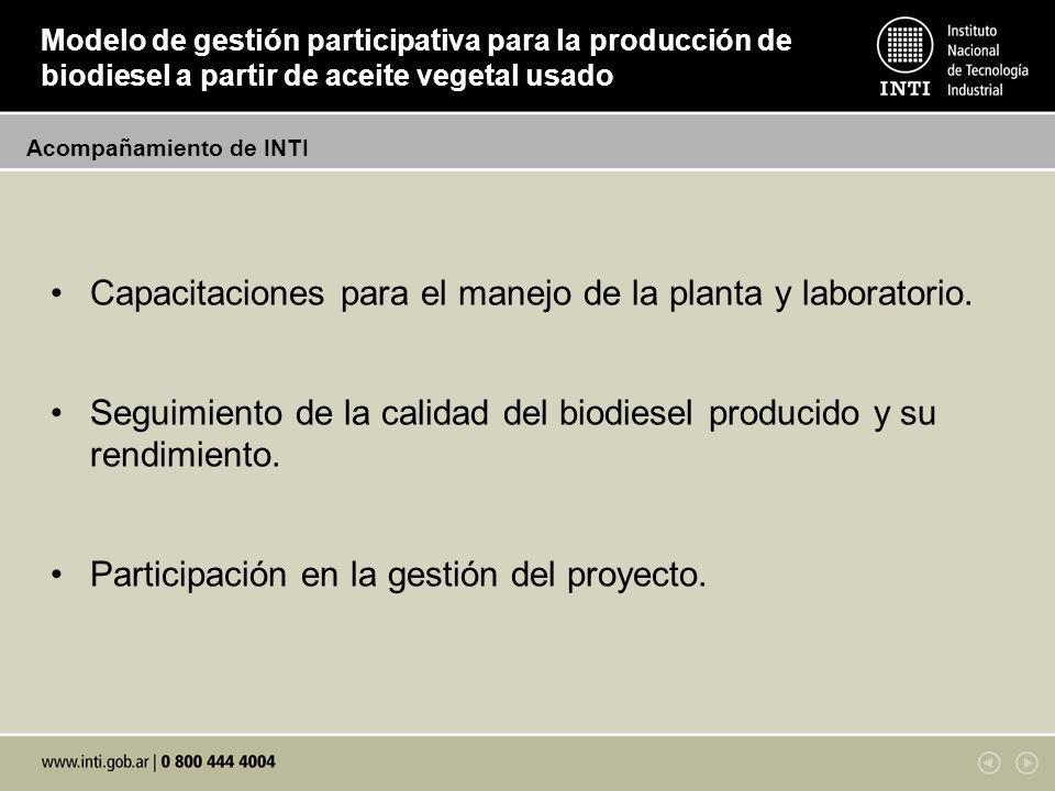 Capacitaciones para el manejo de la planta y laboratorio.