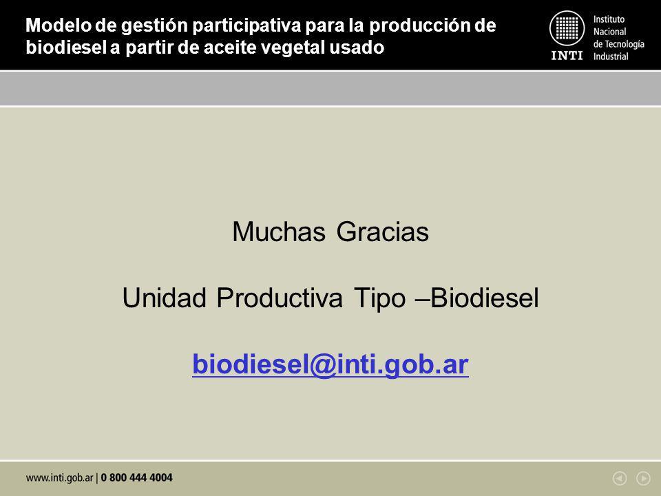 Unidad Productiva Tipo –Biodiesel