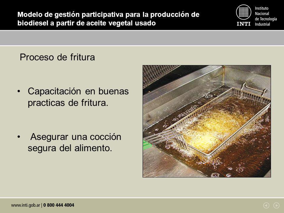 Capacitación en buenas practicas de fritura.