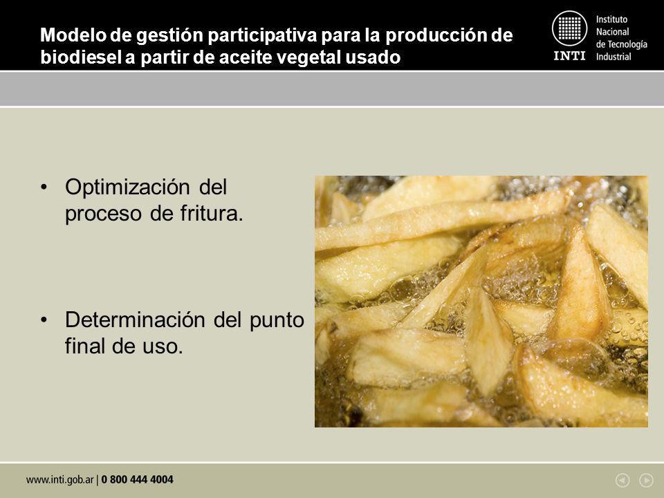 Optimización del proceso de fritura.