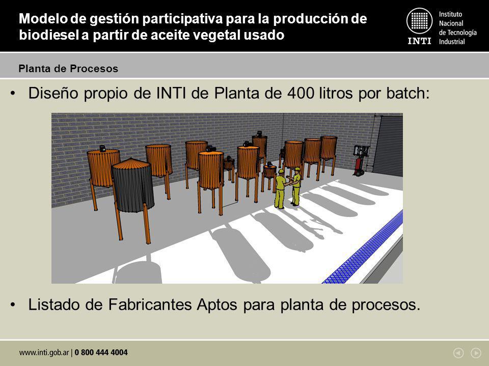 Diseño propio de INTI de Planta de 400 litros por batch: