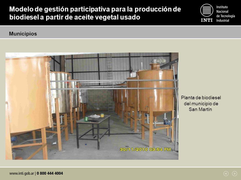 Modelo de gestión participativa para la producción de biodiesel a partir de aceite vegetal usado