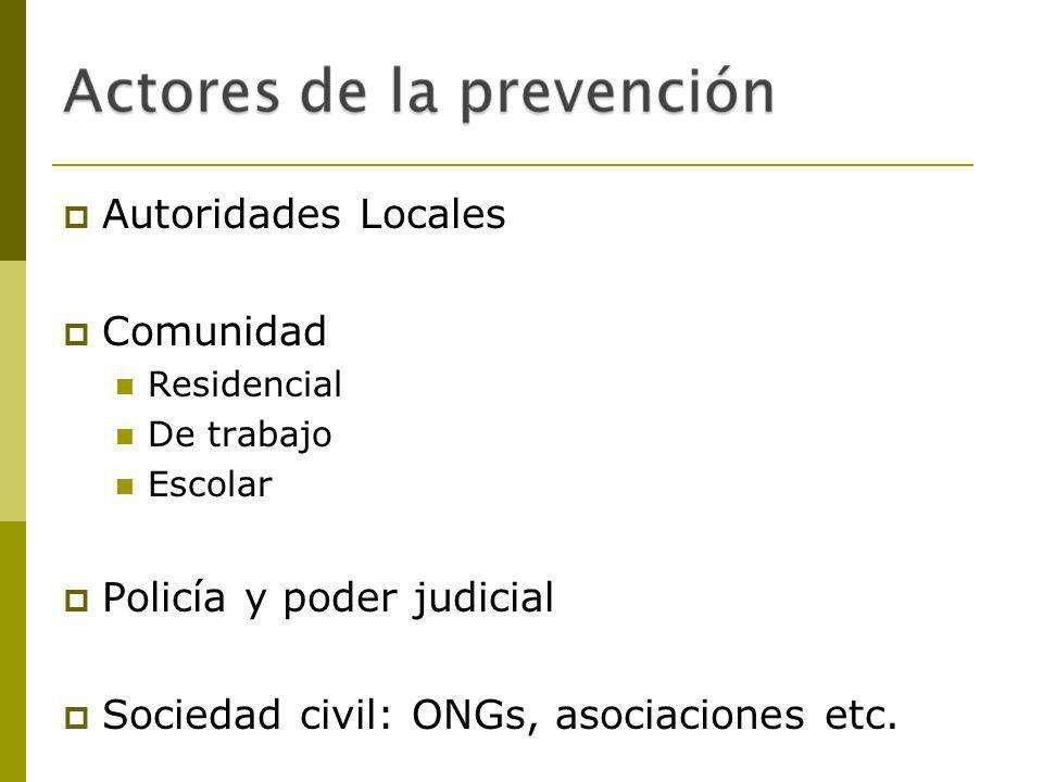 Policía y poder judicial Sociedad civil: ONGs, asociaciones etc.