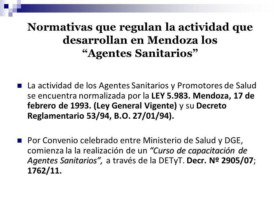 Normativas que regulan la actividad que desarrollan en Mendoza los Agentes Sanitarios
