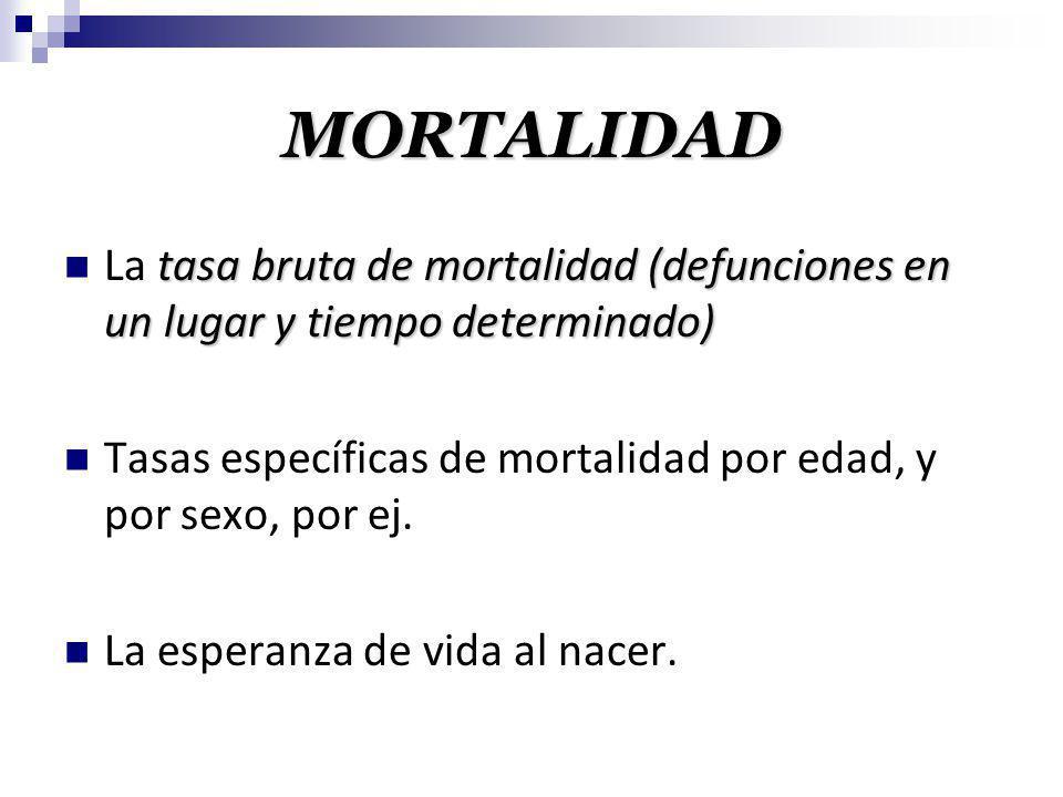 MORTALIDAD La tasa bruta de mortalidad (defunciones en un lugar y tiempo determinado) Tasas específicas de mortalidad por edad, y por sexo, por ej.