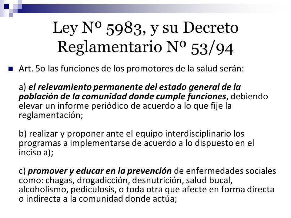 Ley Nº 5983, y su Decreto Reglamentario Nº 53/94
