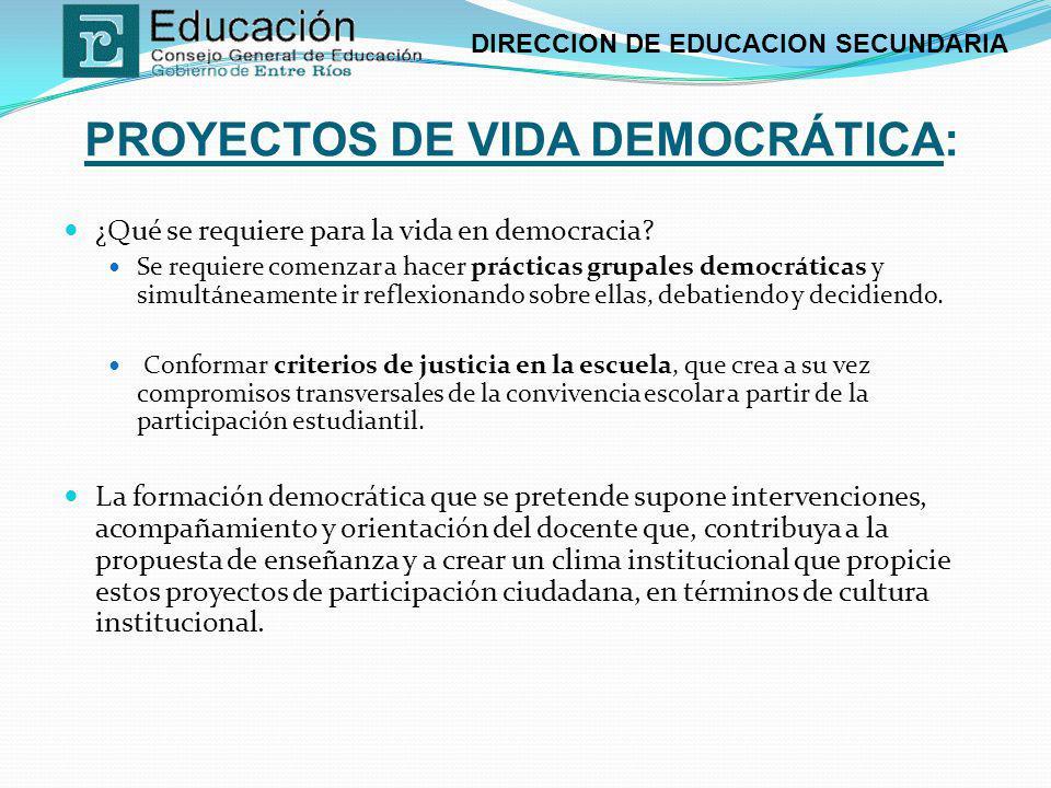 PROYECTOS DE VIDA DEMOCRÁTICA: