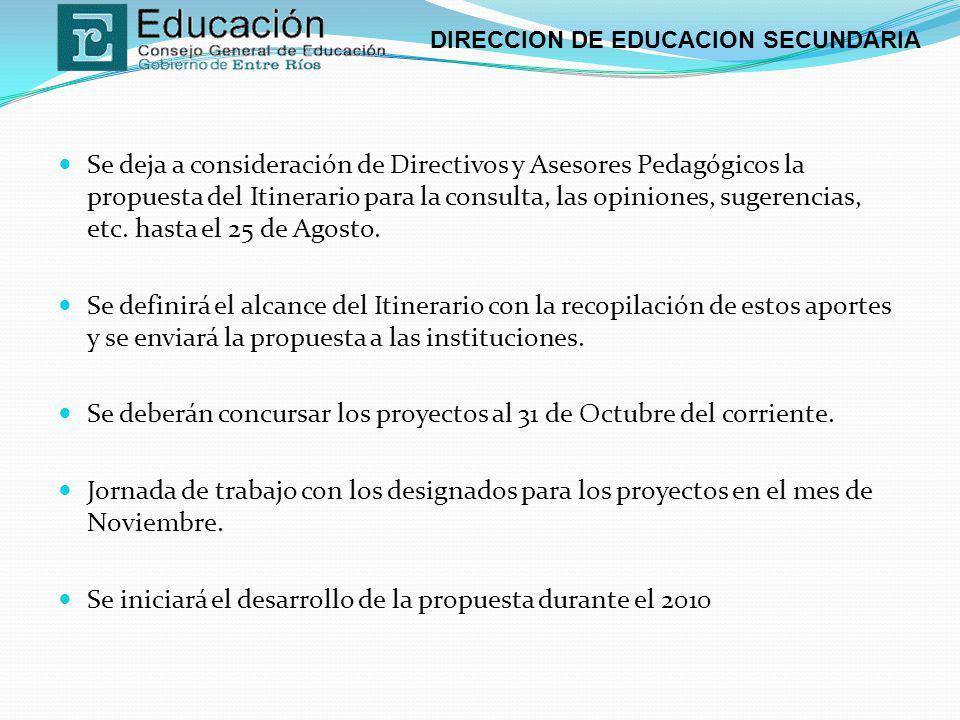 Se deja a consideración de Directivos y Asesores Pedagógicos la propuesta del Itinerario para la consulta, las opiniones, sugerencias, etc. hasta el 25 de Agosto.