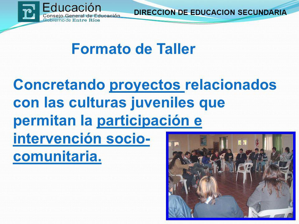 Formato de Taller Concretando proyectos relacionados con las culturas juveniles que permitan la participación e intervención socio- comunitaria.