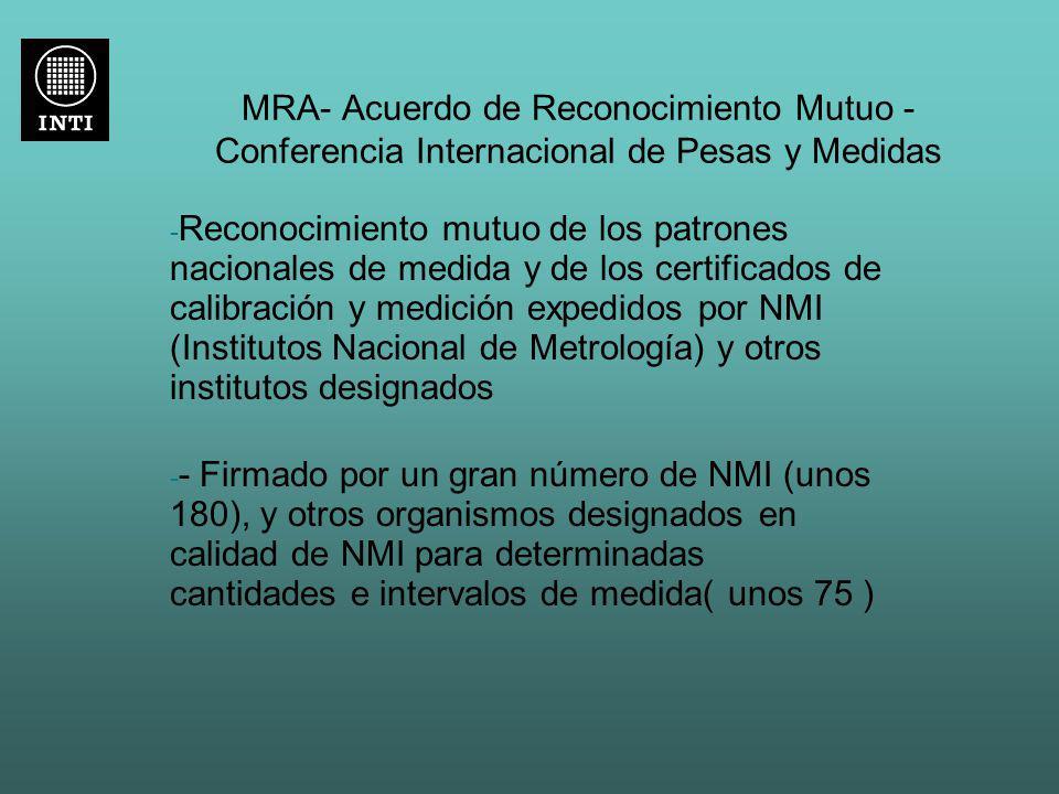 MRA- Acuerdo de Reconocimiento Mutuo - Conferencia Internacional de Pesas y Medidas
