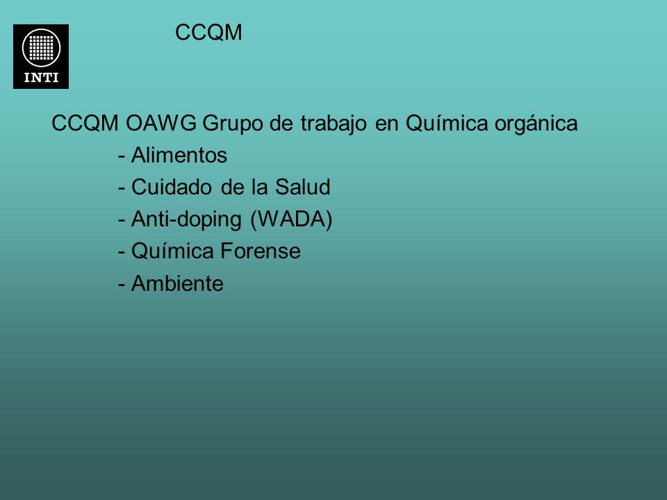 CCQM CCQM OAWG Grupo de trabajo en Química orgánica - Alimentos