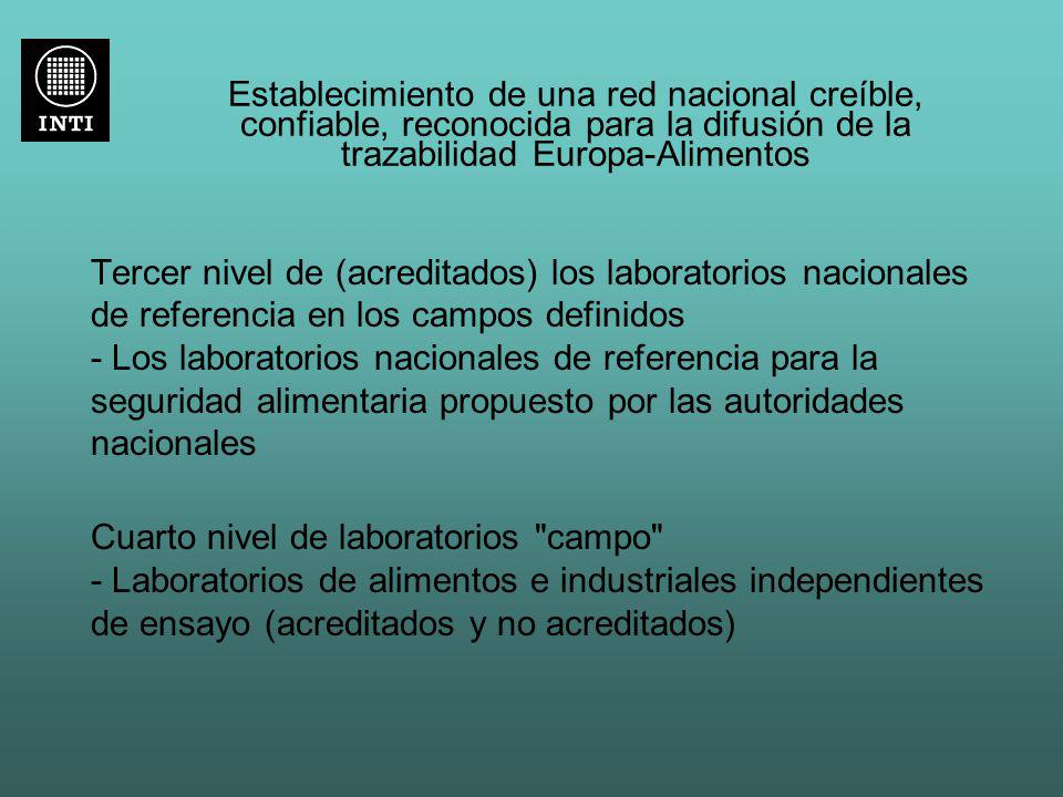 Establecimiento de una red nacional creíble, confiable, reconocida para la difusión de la trazabilidad Europa-Alimentos