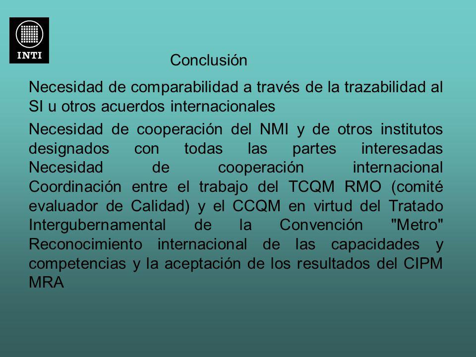 Conclusión Necesidad de comparabilidad a través de la trazabilidad al SI u otros acuerdos internacionales.