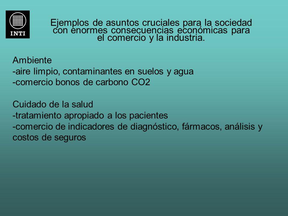 Ejemplos de asuntos cruciales para la sociedad con enormes consecuencias económicas para el comercio y la industria.