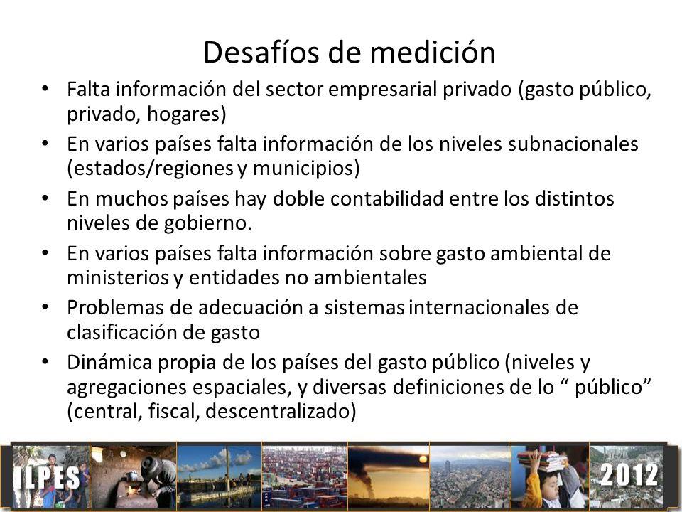 Desafíos de medición Falta información del sector empresarial privado (gasto público, privado, hogares)