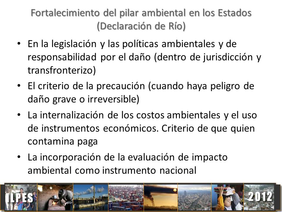 Fortalecimiento del pilar ambiental en los Estados (Declaración de Río)