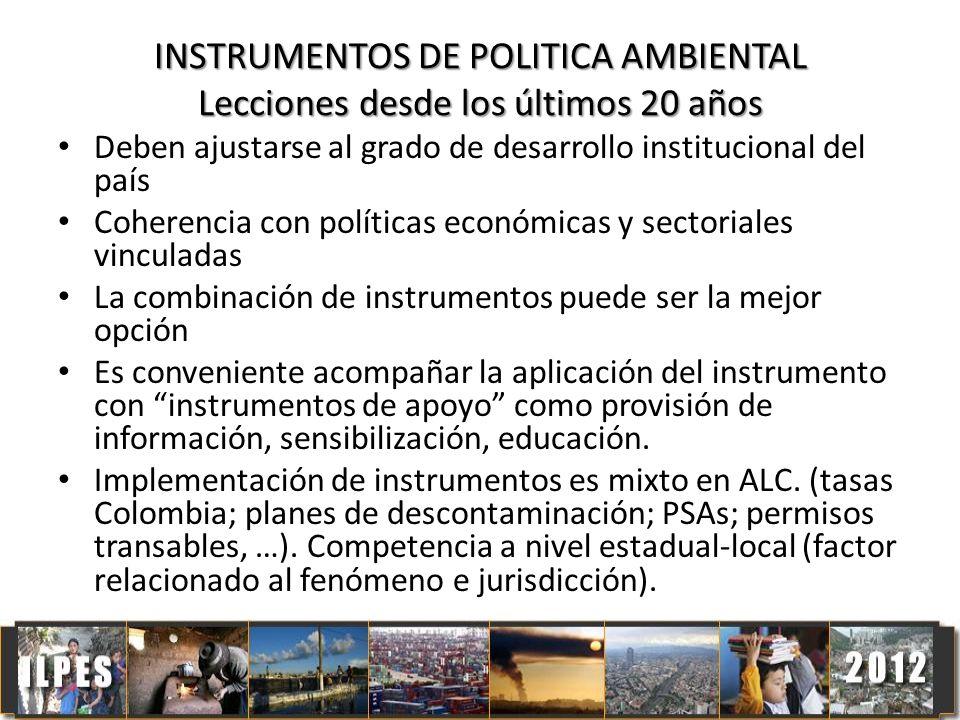 INSTRUMENTOS DE POLITICA AMBIENTAL Lecciones desde los últimos 20 años