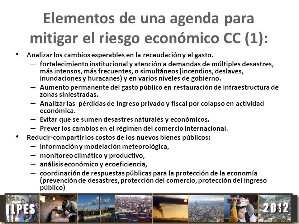 Elementos de una agenda para mitigar el riesgo económico CC (1):