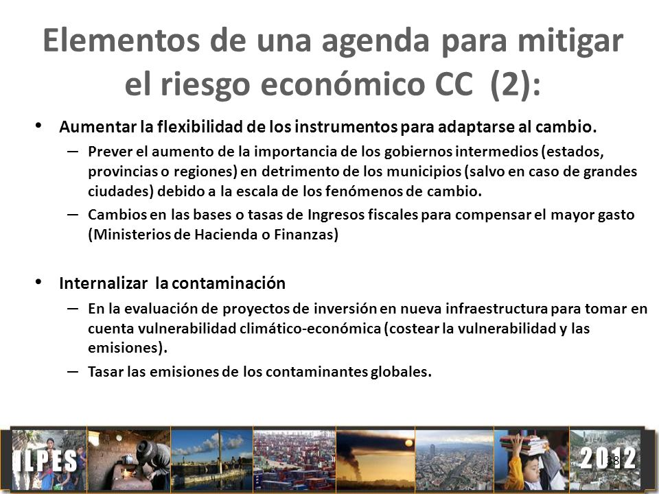 Elementos de una agenda para mitigar el riesgo económico CC (2):