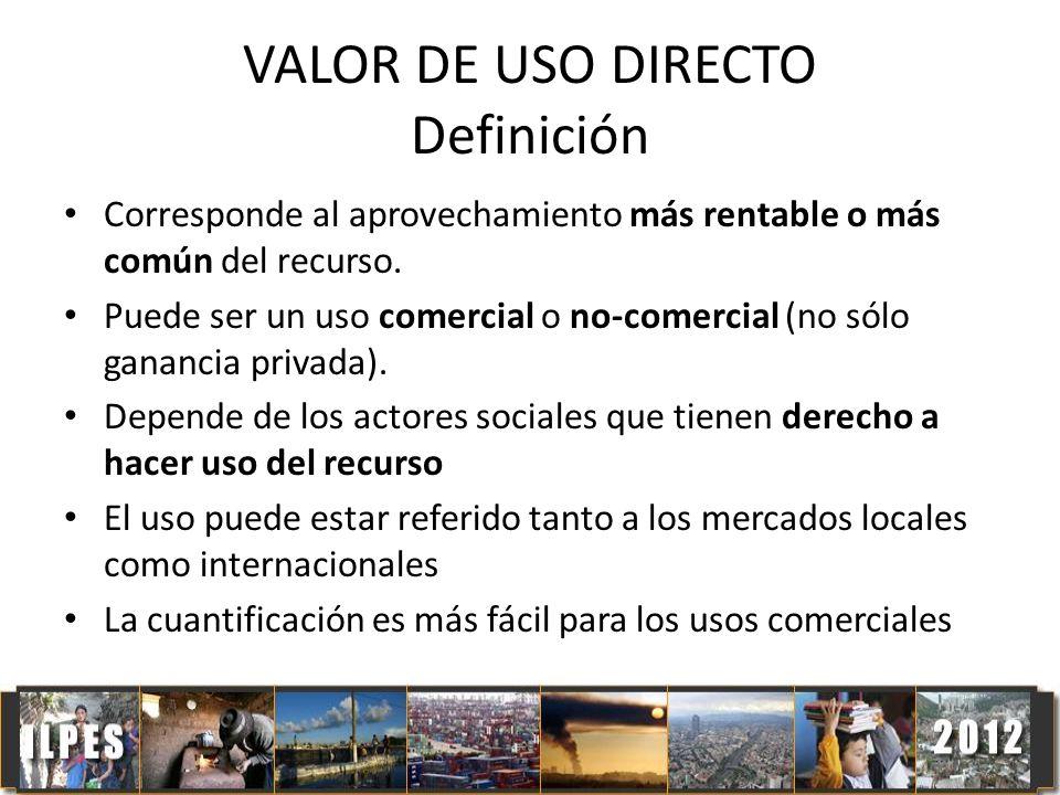 VALOR DE USO DIRECTO Definición