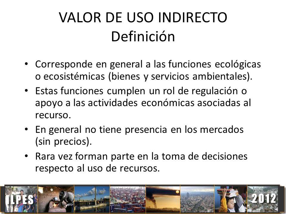 VALOR DE USO INDIRECTO Definición