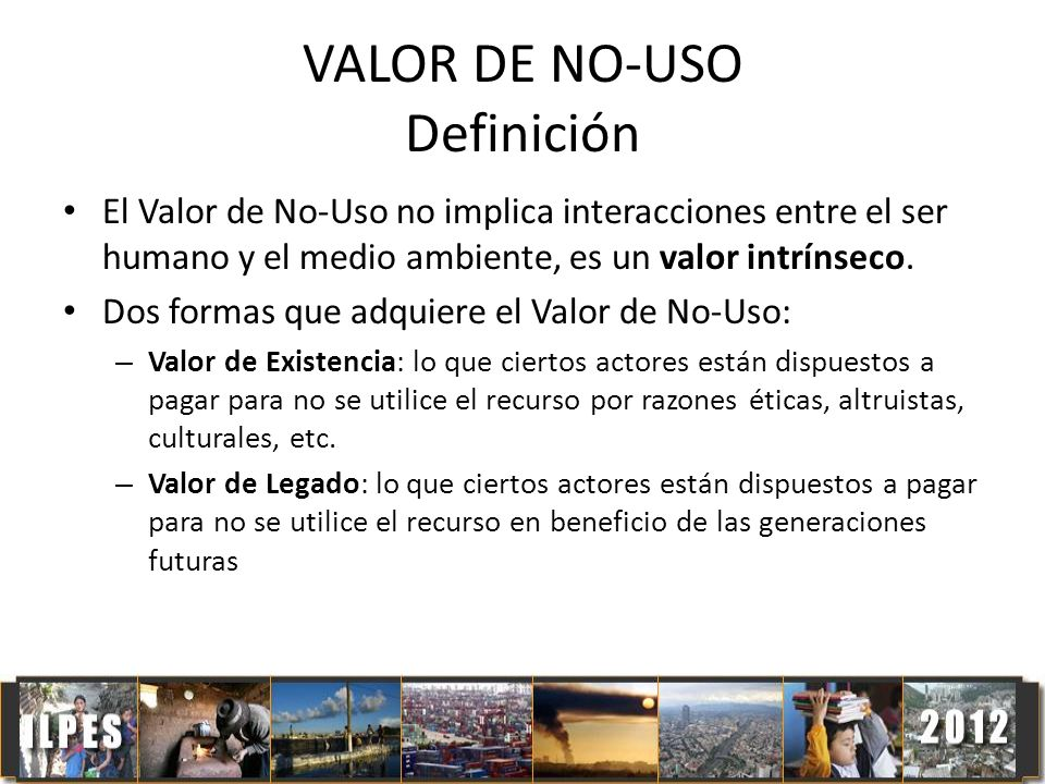 VALOR DE NO-USO Definición