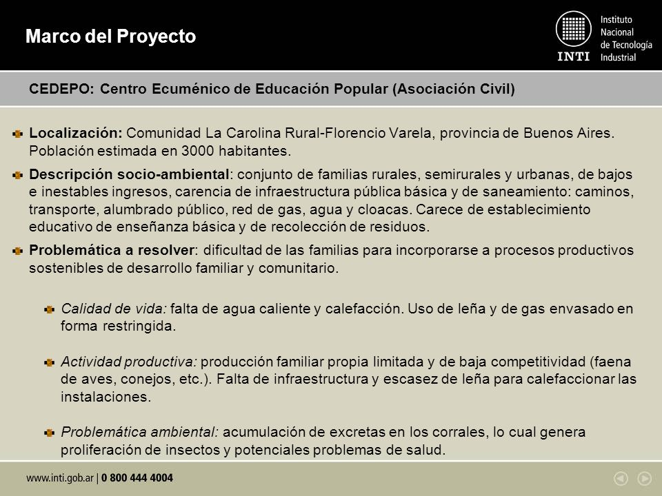 Marco del Proyecto CEDEPO: Centro Ecuménico de Educación Popular (Asociación Civil)