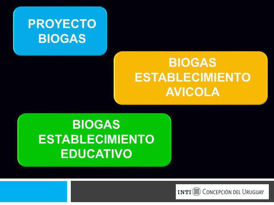 BIOGAS ESTABLECIMIENTO AVICOLA ESTABLECIMIENTO EDUCATIVO