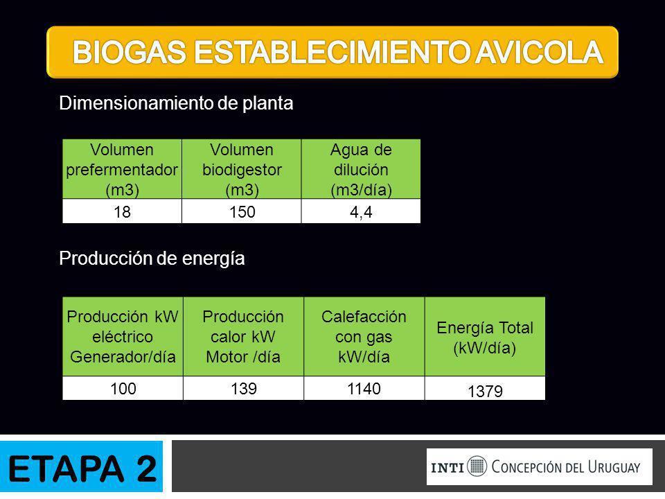 ETAPA 2 BIOGAS ESTABLECIMIENTO AVICOLA Dimensionamiento de planta