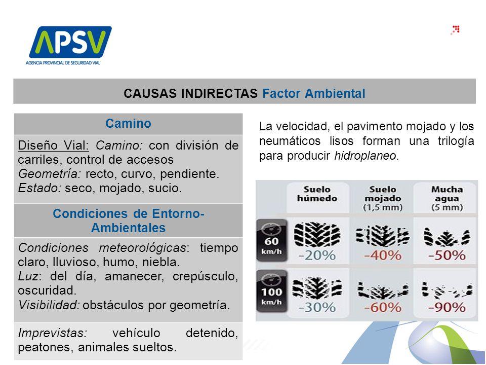 CAUSAS INDIRECTAS Factor Ambiental Condiciones de Entorno-Ambientales