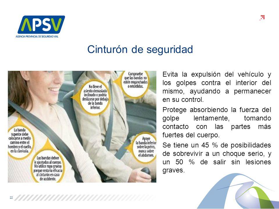 Cinturón de seguridad Evita la expulsión del vehículo y los golpes contra el interior del mismo, ayudando a permanecer en su control.