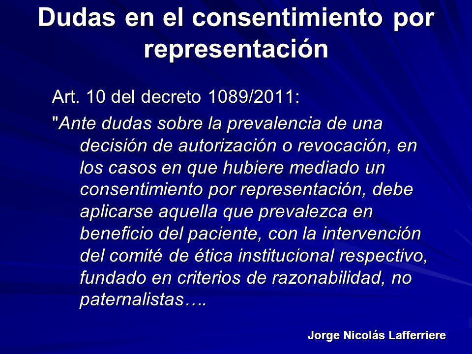 Dudas en el consentimiento por representación